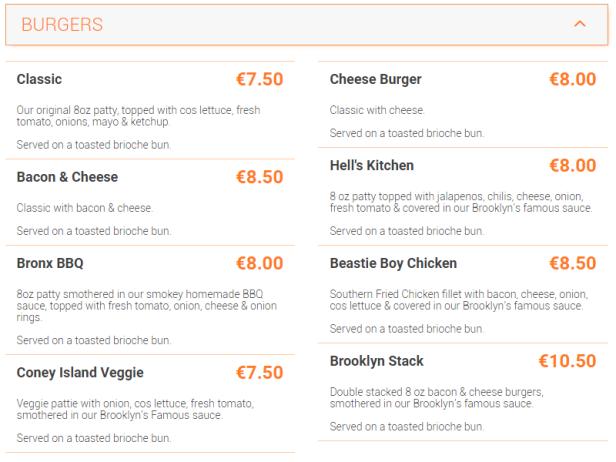 Brooklyn Burger Drumcondra Menu Dublin